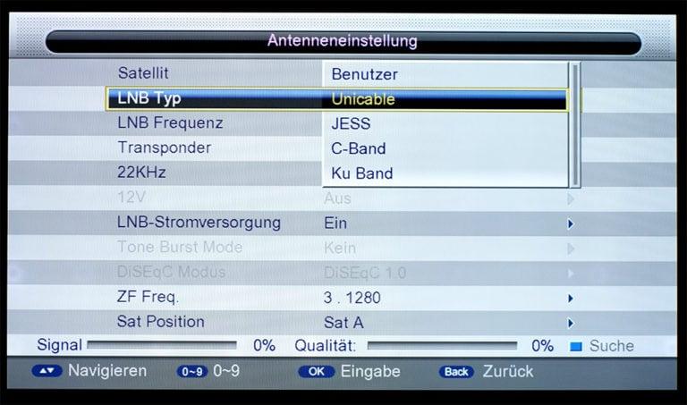 Triax S-HD 11 unicable Einstellungen 4