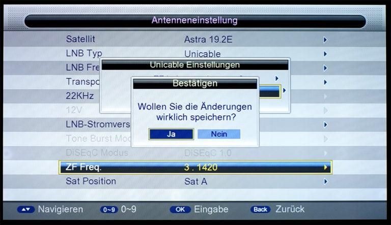 Triax S-HD 11 unicable Einstellungen 6