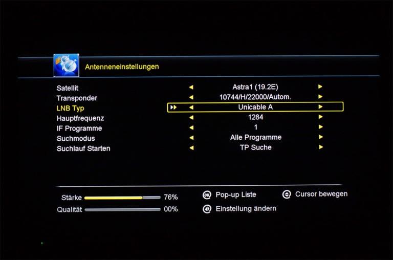 Megasat HD 601 V2 unicable Einstellungen 3