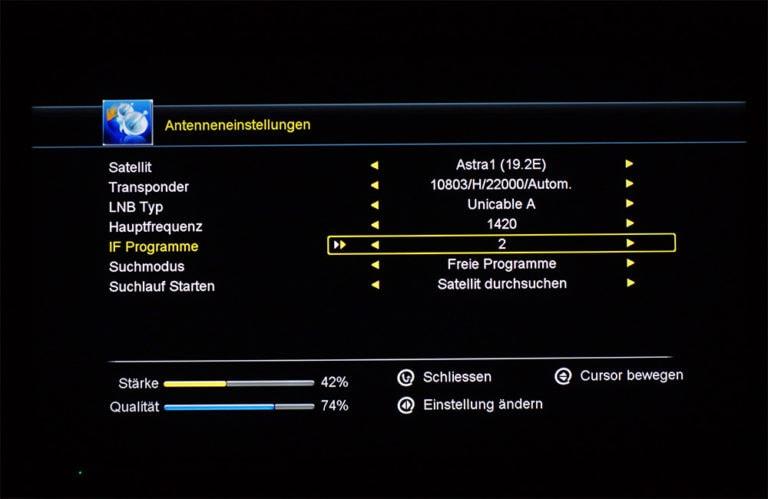 Megasat HD 601 V2 unicable Einstellungen 4